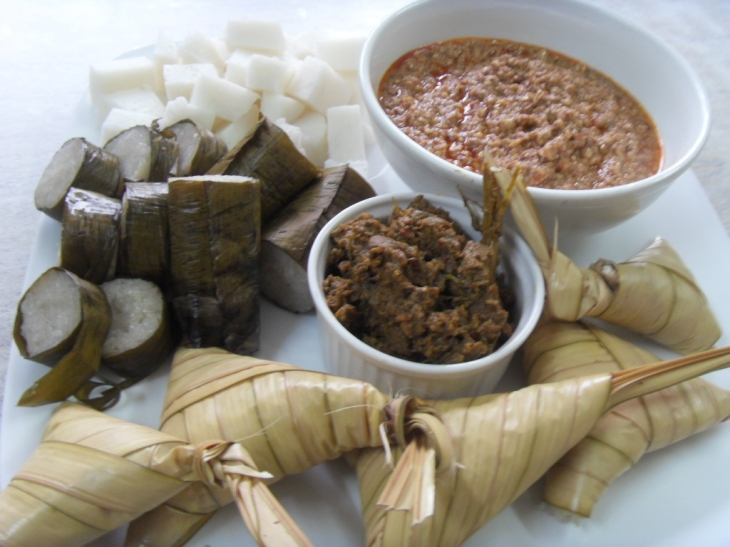 Malay Dishes - Ketupat and Rendang